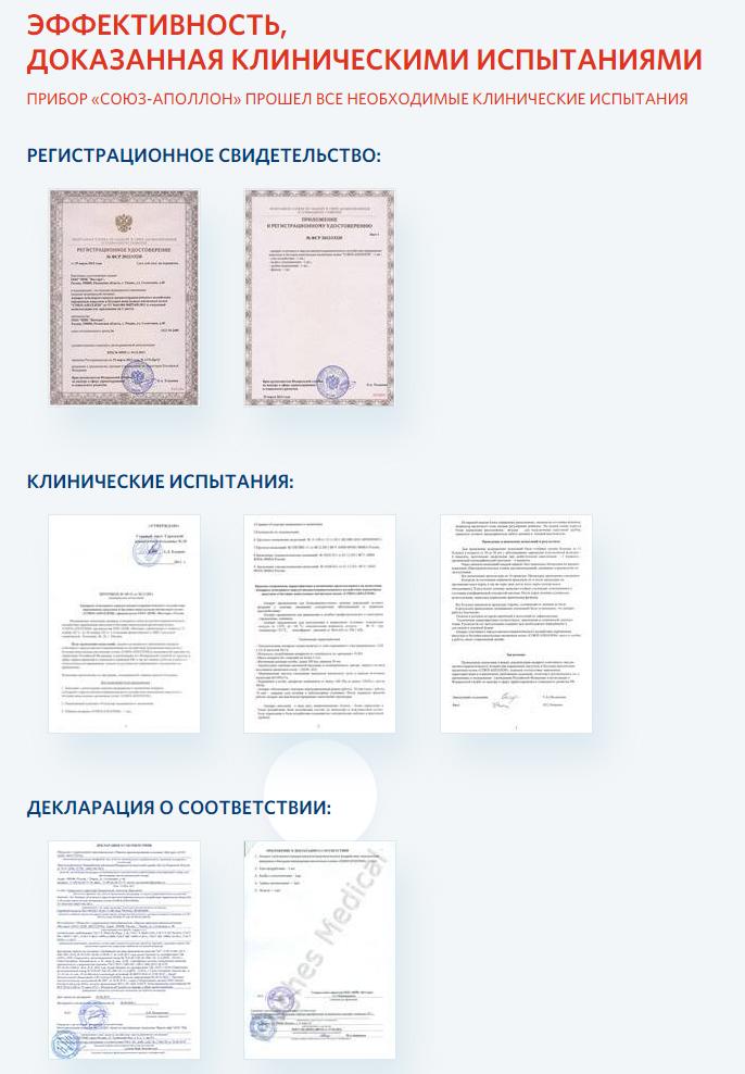 Союз-Аполлон – сертификаты