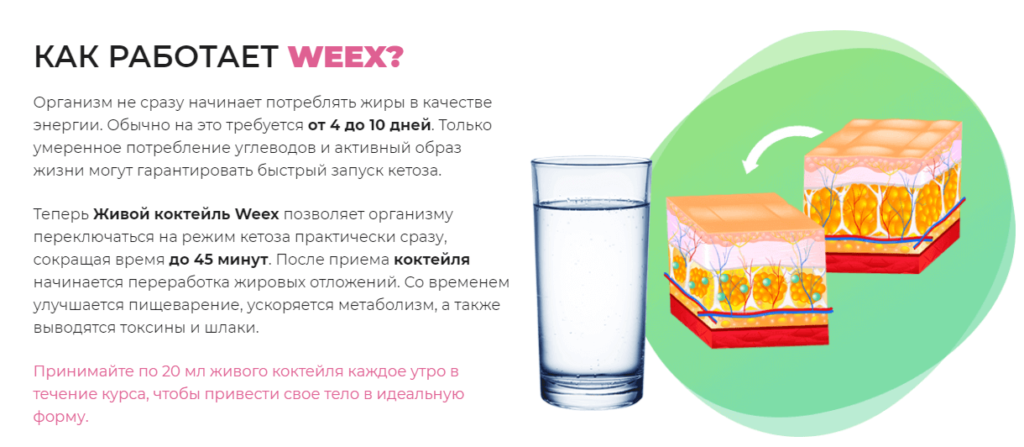 Weex – механизм действия